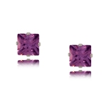 Purple CZ Stud Earrings