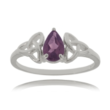 Celtic Triquetra Ring with Amethyst
