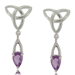 Celtic Triquetra Earrings with Amethyst