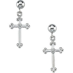 Orthodox Cross Diamond Earrings